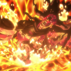 Kars being immolated in a volcano