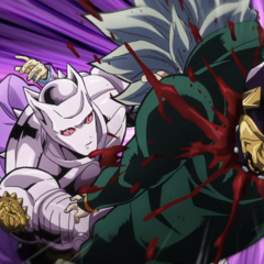 Koichi being fatally impaled by Killer Queen's fist.