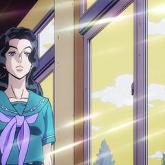 Yukako's initial appearance, walking down a school hallway.