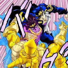 Jotaro fighting DIO's Stand, <i><a href=