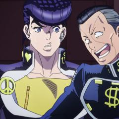 Okuyasu joking with Josuke.