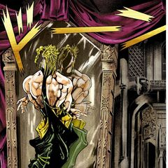 DIO admires the reflection of his new body