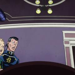 Josuke, Okuyasu and Shigechi nervously try to verify their ticket.