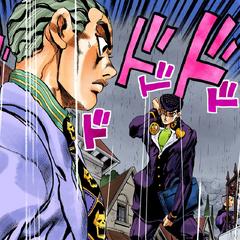 Kira confronting Josuke in the rain