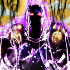 Killer Queen's initial appearance, shrouded in shadow as its <a href=
