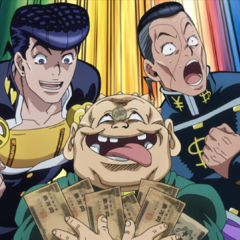 Josuke and his friends pose with their hard-earned cash.