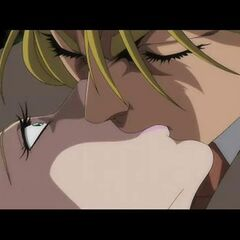 Dio kissing Erina.