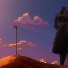 N'Doul's grave marked with his signature cane