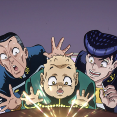 Shigechi, Josuke and Okuyasu all receiving their shares of the money.