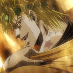 Showing off the Joestar birthmark on his body