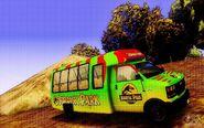 Jurassic Park Tour Bus on a hill