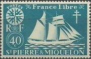 St Pierre et Miquelon 1942 Fishing Schooner St. Malo e