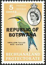 Botswana 1966 Overprint REPUBLIC OF BOTSWANA on Bechuanaland 1961 e