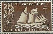 St Pierre et Miquelon 1942 Fishing Schooner St. Malo i