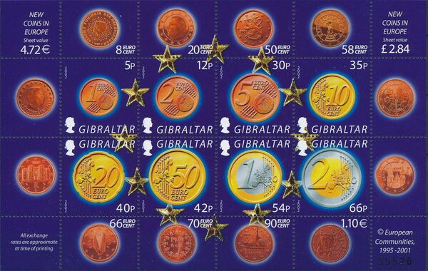 Gibraltar 2002 New coins in Europe k