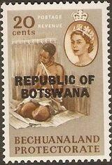 Botswana 1966 Overprint REPUBLIC OF BOTSWANA on Bechuanaland 1961 i