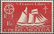 St Pierre et Miquelon 1942 Fishing Schooner St. Malo h