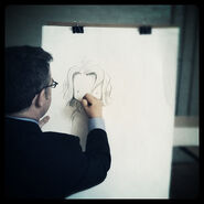 Peter Reynolds from@fablevision sketches a Judy Mooody character on his visit 2 bates
