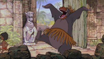 Baloo the bear is dressed up as a female monkey