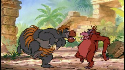Baloo the Bear and King Louie the Oranatang both groove to the beat