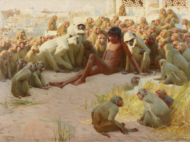 File:John Charles Dollman - Mowgli made leader of the Bandar Log.jpg