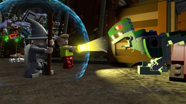 File:Lego Dimensions Shaggy getting scared of Blue the Velociraptor from Jurassic World.jpg