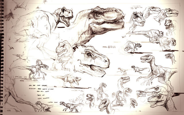 File:The Lost World Jurassic Park sketchbook page T-rex and Raptor.jpg