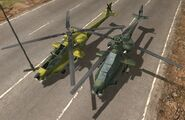 Two versions of the Helicopter -Jackson Z-19 Skreemer-, the Rioja version (left) and the Guerrilla version.