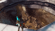 JC3 Musical pentagram obelisk seen from the edge of the hole