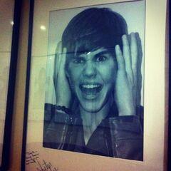 Justin Bieber's photo wall at El Hormiguero studio in Spain