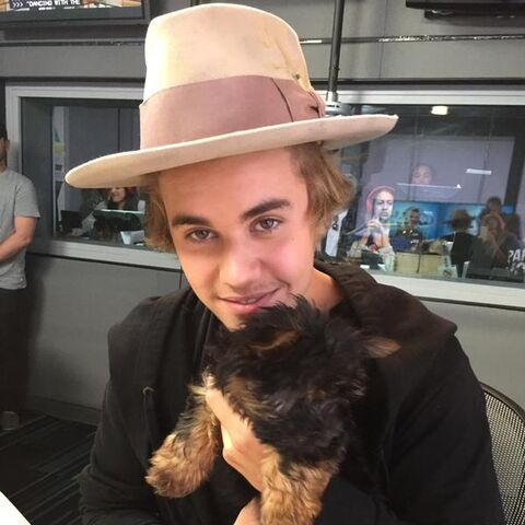 Justin Bieber and his dog, Esther.