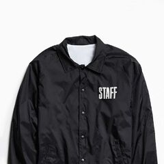 £69|€89<br /><br />Coaches jacket from Justin Bieber's 2016 Purpose Tour, only available at Urban Outfitters. Nylon jacket with a lightweight mesh lining is cut in an oversized silhouette with raglan sleeves, tab collar and full-length snap button closure. Features 'STAFF' printed at the chest and a metal-inspired Purpose Tour text graphic printed at the back. Complete with elastic trim at the cuffs and an adjustable drawstring at the hem to customize the fit.