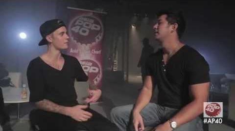 Dom Lau interviews Justin Bieber backstage in Hong Kong