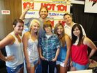 Justin Bieber with fans at Hot 101