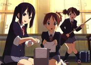 Azusa, Ui and Jun during cleaning duty