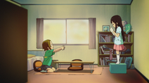 Ritsu helps mio for her reading
