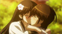 Keima and Kusunoki are kissing