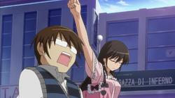 Kusunoki punches Keima