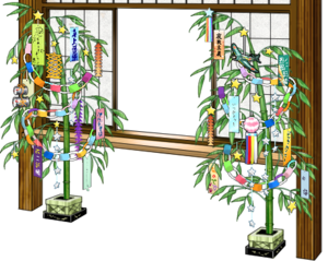 Window with Tanabata decorations