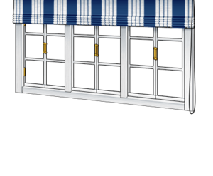 Window with Blue & White Blinds