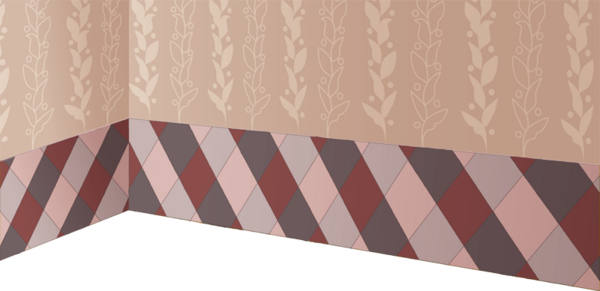 Wallpaper with plaid and leaf motif