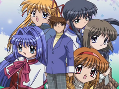 An image of the main characters in the opening