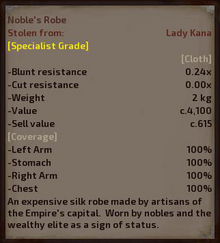 Noble's Robe Stats