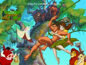 Simba Timon and Pumbaa's adventures of The Legend of Tarzan Poster
