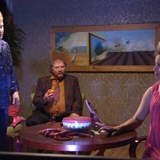 Pokój dzienny Waldka i Jolanty. Jolanta nie toleruje obecności Ferdka w jej domu. Scena z odcinka Klimakterium.