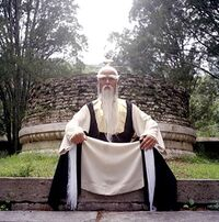 Pai Mei on top of steps