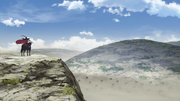 Ouki on a cliff observing his army