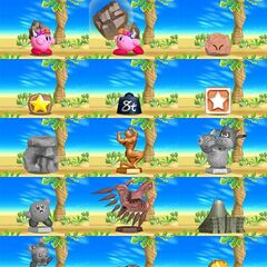 Algunas formas que Kirby puede tomar con esta habilidad.