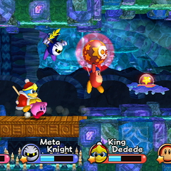 Los 4 personajes yendo por una cueva.