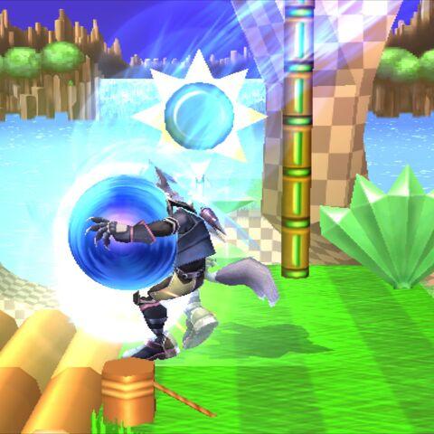 Kirby Sonic usando <i>Ataque Teledirigido</i>.